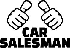 Car Salesman with thumbs. T-Shirt design. Royalty Free Stock Photos