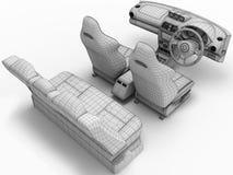 Car salon in the form of a grid.3D illustration vector illustration