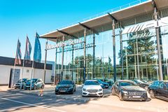 Car salon Mercedes Benz. Russia, Saint-Petersburg. July 12, 2017. Car salon Mercedes Benz. Russia, Saint-Petersburg July 12 2017 Stock Image