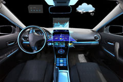 Car salon with navigation system and meteo sensors Stock Image