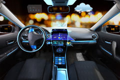Car salon with navigation system and meteo sensors Royalty Free Stock Photo