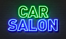 Car salon neon sign on brick wall background. Car salon neon sign on brick wall background Royalty Free Stock Image
