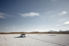 Car on the salt lake Stock Images