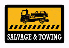 Car salvage. And towing sign Royalty Free Stock Photos