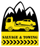 Car salvage and towing. Sign Stock Image
