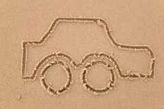 Car sand drawing. Sand drawing of a car stock photo