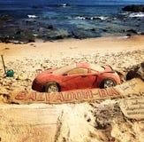 Car sand sculpture Stock Image