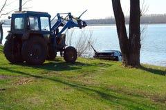 Car sank in the lake. Stock Photos