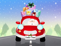 Car of Santa Claus. Illustration of Santa Claus on car stock illustration
