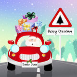 Car of Santa Claus. Illustration of Santa Claus on car vector illustration
