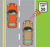 Car scans speed limit sign Royalty Free Stock Image