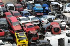 Car Scrapping. European Car Scrapping in Tenerife Canary Island Spain Stock Image