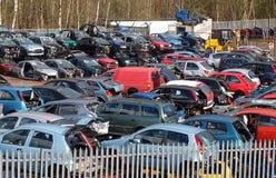 Car Scrapyard. Broken and damaged cars in scrapyard royalty free stock photo