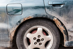 Car scratched with deep damage Stock Images