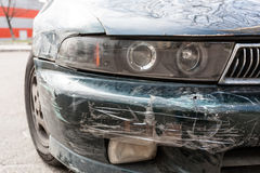 Car scratched with deep damage Stock Photo