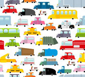 Car seamless pattern. Background of transport in cartoon style. Many small toy cars. Cute transport Texture for baby fabric. School bus and taxi. Tow truck and Royalty Free Stock Images