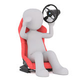 In car seat with broken steering wheel. Figure of faceless 3D man sitting in racing car seat and holding detached steering wheel up in his hand, render isolated Royalty Free Stock Photography