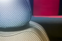 Car seat cover and headrest closeup photo Stock Image