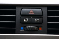 Car seat lever. Car air conditioning black and white signs Stock Photo