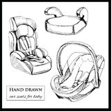 Car seats for baby on white background Royalty Free Stock Image