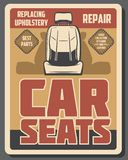 Car seats repair service. Upholstery replacing. Car repair service and auto spare parts, retro seats replacing and cleaning. Vector upholstery replacement with royalty free illustration