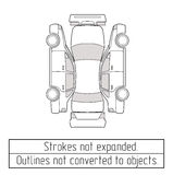 Car sedan drawing outlines not converted to objects Royalty Free Stock Images