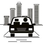 Car sedan with driver vehicle icon. Vector illustration design Royalty Free Stock Photography