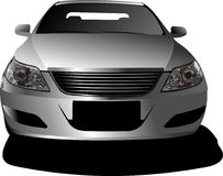 Car sedan on the road. Frontal view Royalty Free Stock Photos