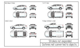 Car sedan and suv drawing outlines not converted to objects Stock Images