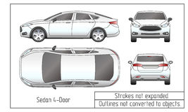 Car sedan and suv drawing outlines not converted to objects Stock Image