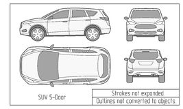 Car Sedan And Suv Drawing Outlines Not Converted To Objects Stock