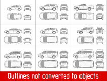 Car sedan and suv and van all view drawing outlines not converted to objects. Car sedan and suv drawing outline strokes not expanded Stock Photography