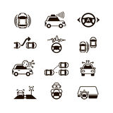 Car self control, futuristic driving intelligent vehicle systems vector icons Royalty Free Stock Images