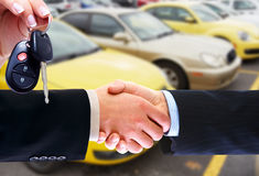 Car seller and client handshake. Stock Photos
