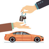 Car seller hand giving key to buyer. Buying or renting business vector concept Royalty Free Stock Photography