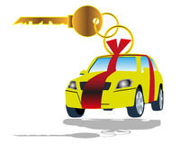 Car Selling. Vector illustration of a key with car tag Royalty Free Stock Photos
