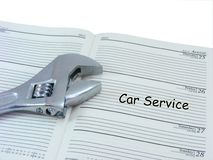 Car Service Appointment in Diary Stock Image