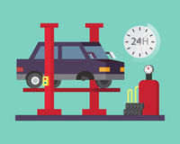 Car service. Auto diagnostics and transport repair, tire change Stock Photography