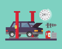 Car service. Auto diagnostics and transport repair. Vector illustration. Royalty Free Stock Photography