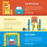 Car Service Automobile Banner Flat Design Style. Vector Stock Photos