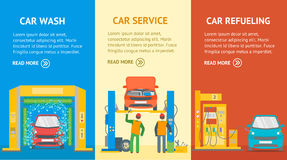 Car Service Automobile Banner Flat Design Style. Vector Royalty Free Stock Images