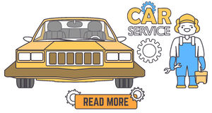 Car service banner. Mechanic worker in car repair shop. Flat vector illustration in cartoon style. Car service banner. Mechanic worker in car repair shop. Flat Royalty Free Stock Photo