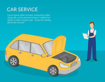 Car service banner. Serviceman and car. Car repairs, diagnostics and maintenance. Royalty Free Stock Photo