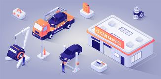 Car Service Building with Mechanics at Work Vector. Car Service Building, Evacuator Stands near. Man Technician Characters Repairs Motor, other Master Replaces vector illustration