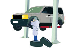 Car at the service center. Illustration of car at the service center Royalty Free Stock Image