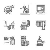 Car service center flat line icons Royalty Free Stock Photos
