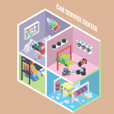 Car service center isometric icons. Vector flat 3d design elements. Auto painting, collision repair, multi level parking. Car wash, change tyres, Car mechanic Stock Photos