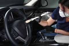 Car service. Cleaning of  interior by a brush 4 Royalty Free Stock Photos