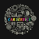 Car service colorful gradient with line icons set Stock Images