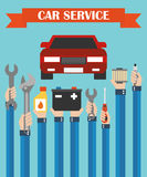 Car service concept design flat ,with hands Royalty Free Stock Images